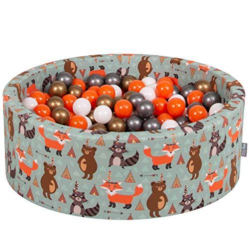 KiddyMoon Bällebad 90X30cm/300 Bälle ∅ 7Cm Bällepool Mit Bunten Bällen Für Babys Kinder Rund, Füchse-Grün:Orange-Silbern-Golden-Weiß