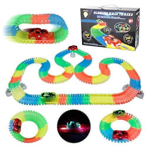 Rennbahn Autorennbahn Kinder Cars Spielzeug 240 Stück Leuchtende Autospuren Spiele für Kinder mit 2 Led Autos Spielzeug Geschenk für Junge Mädchen 3 4 5 6 Jahren