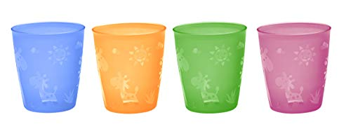 NIP Kindertrinkbecher für Kleinkinder und Babys, mit niedlichem Motiv, BPA-frei, Made in Germany, 4er Set, ab 18 Monaten