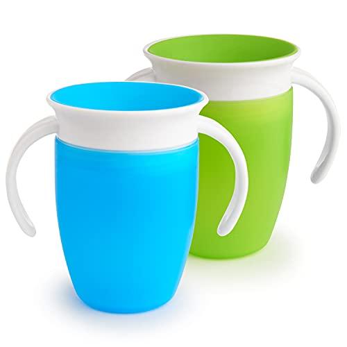 Munchkin Miracle 360ᵒ Trinklernbecher mit Griffen, auslaufsicher, ab 6 Monaten, blau/grün, 207 ml (2er Pack)