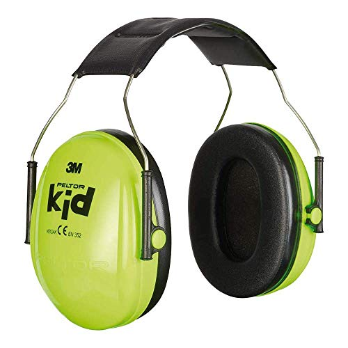 3M Peltor Kid Kapselgehörschützer neongrün, Leichter Kinder Gehörschutz/Ohrenschutz mit verstellbarem Kopfbügel für Lärm bis 98dB - SNR 27 Hörschutz für Konzerte, Feuerwerk, Schule, Motorsport