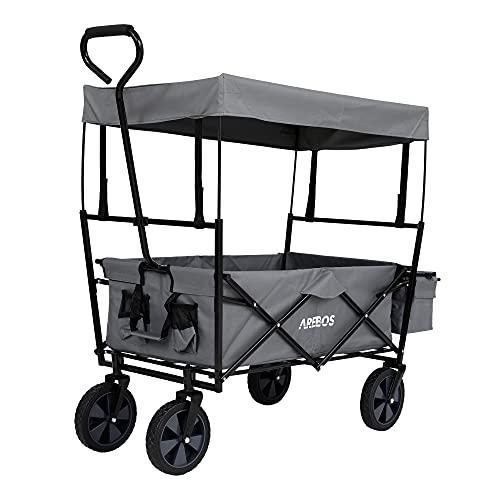 Arebos Bollerwagen faltbar mit Dach   Transportwagen   2X Netztaschen und 1x Außentasche   faltbar   Vollgummireifen (Grau)