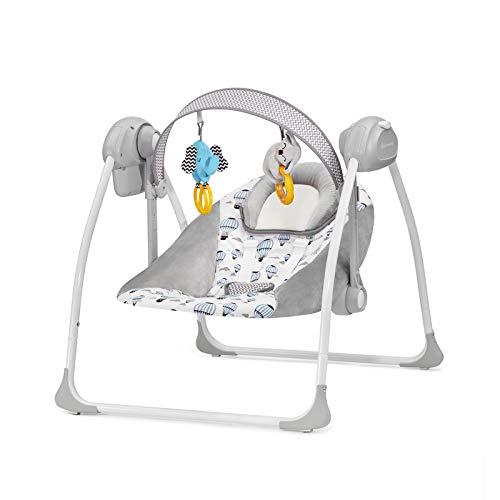 Kinderkraft Babywippe FLO 2 in 1, Babyschaukel, Wippe, Schaukelwippe mit Vibration, Spielbogen, Spielzeuge, Moskitonetz, Verstellbare Rückenlehne, Klappbar, 8 Melodien, von Geburt bis zu 9 kg, Minze