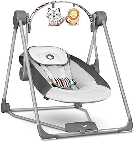 Lionelo Otto Baby Wippe Baby Schaukel Spielbogen mit interaktiven Spielzeugen 5 Schaukel Geschwindigkeiten Naturgeräusche ab Geburt bis 9 kg zusammenklappbar Grau