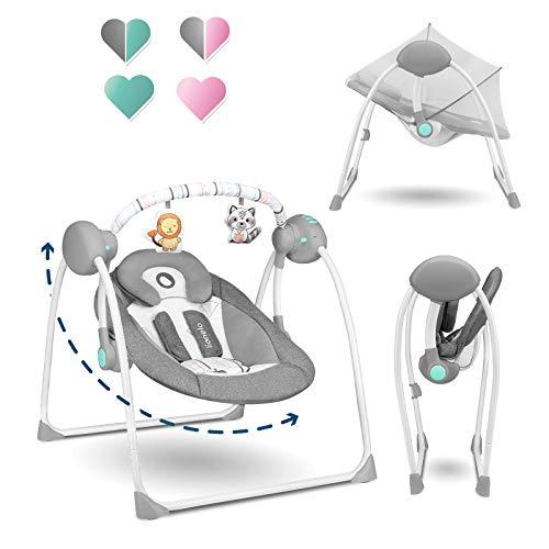 Lionelo Ruben Baby Wippe Babyschaukel Elektrisch mit Liegefunktion Baby Schaukel 0 bis 9 kg Moskitonetz 5 Schaukelgeschwindigkeiten Kuscheltierbügel (Dunkelgrau-Türkis)