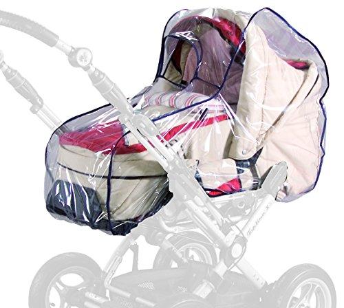 sunnybaby 13195 - Universal Regenverdeck, Regenschutz für Kinderwagen, Babywanne, Soft-Tragetasche   Kontaktfenster f. optimale Luftzirkulation   glasklar   schadstofffrei   Qualität: MADE in GERMANY
