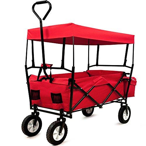 Deuba Bollerwagen faltbar klappbar Handwagen mit Dach Faltwagen Tragkraft Klappbollerwagen Strandwagen Rot